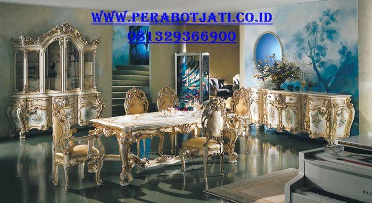 Jual Furniture Meja Makan Ukiran Royal | Meja Makan With Lemari Hias Dan Credenza