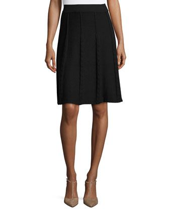 Faux-Cable+Flared+Skirt,+Black+by+Neiman+Marcus+at+Neiman+Marcus+Last+Call.
