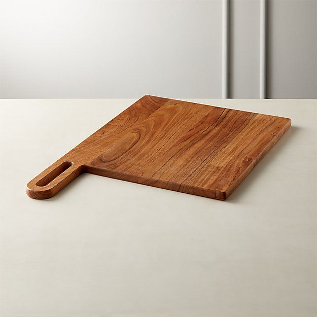 Grip Square Acacia Wood Serving Board In 2020 Wood Serving Board Acacia Wood Crate And Barrel
