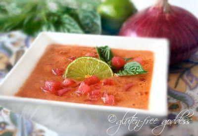 Vegan summer soup- watermelon gazpacho with lime