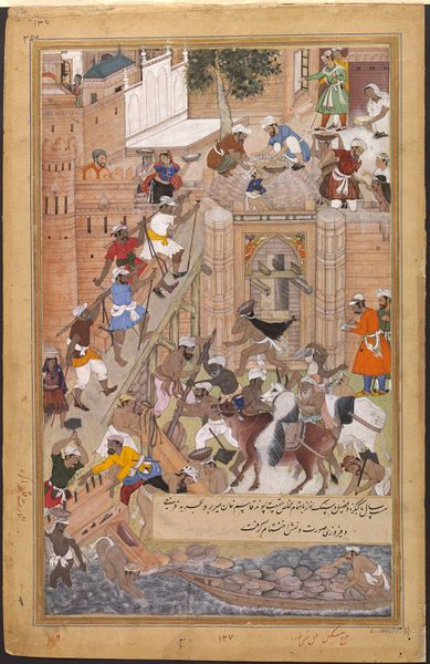Akbarnama  construction of the fort at Agra for the Mughal emperor Akbar (r.1556–1605). The fort was completed in 1566 and enclosed an area of 2 kilometres. by Tulsi (the Younger) & Miskin  V&A