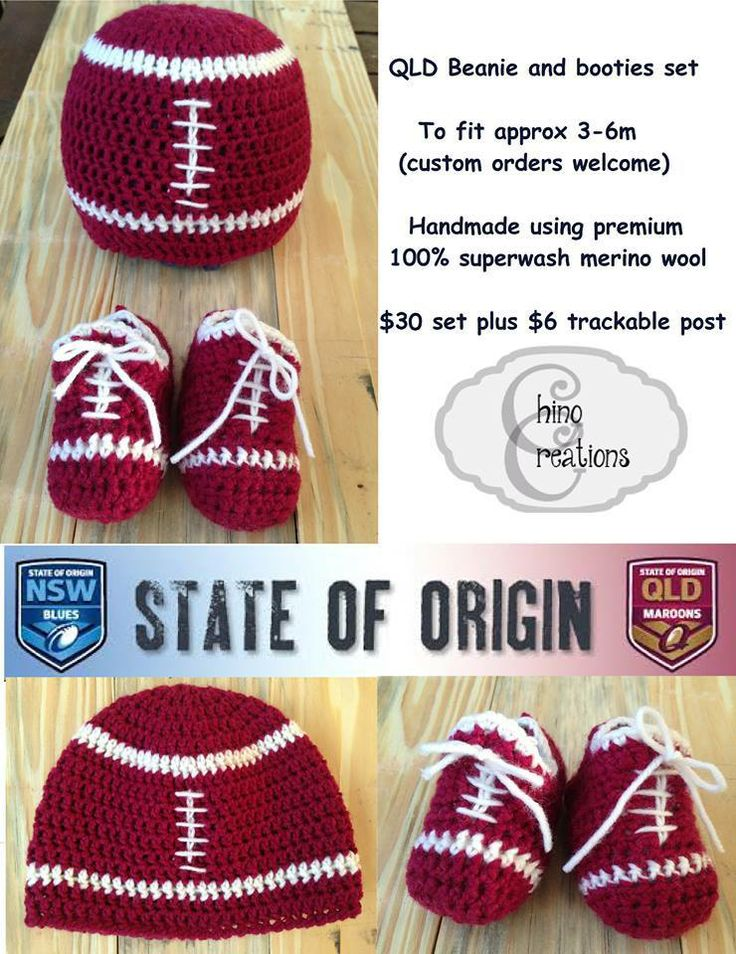 QLD Maroons Supporter Set! Here is something for the little QLD fan- adorable football booties and a cute football beanie. For the Lads Market Night opens at 9pm, on Tuesday 3rd June, 2014. The first person to comment sold will be able to purchase the item direct from the business listed on the item.