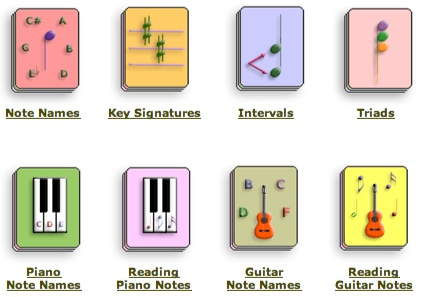 Free online flashcards: note names, intervals, triads and more