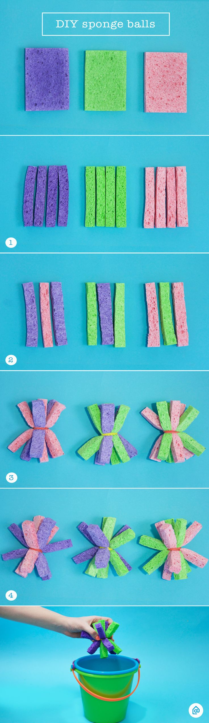 """Looking for a cheap and easy summer activity for the kids? These DIY sponge balls are the perfect alternative to water balloons – less water and less mess! Just follow our 5 simple steps: 1) Use a marker and ruler to cut your sponge into 1"""" strips 2) Gather 9 strips of sponge using a mix of colors 3) Tie the strips together with a string 4) Shift the sponge pieces around to create a ball and snip the extra string 5) Dip in a water bucket and enjoy!"""