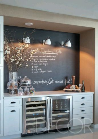 Chalkboard bar: This would work in my small dining room off my kitchen. Could do this and add some extra storage for my kitchen.