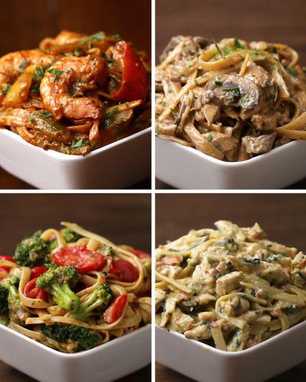 Fettuccine 4 Ways. Shrimp Fajita, Creamy Mushroom, Tomato Broccoli Pesto, Chicken Bacon Florentine