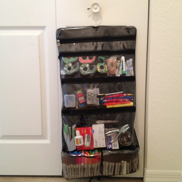 Bathroom bag used for office supply storage