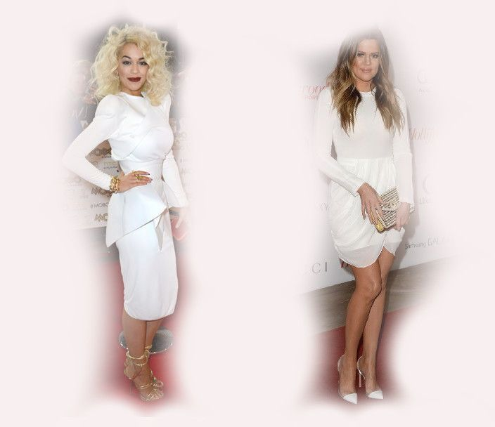 white long sleeve dress, Rita Ora VS Khloe Kardashian Odom fashion diva who-wore-it-better celeb celebrity
