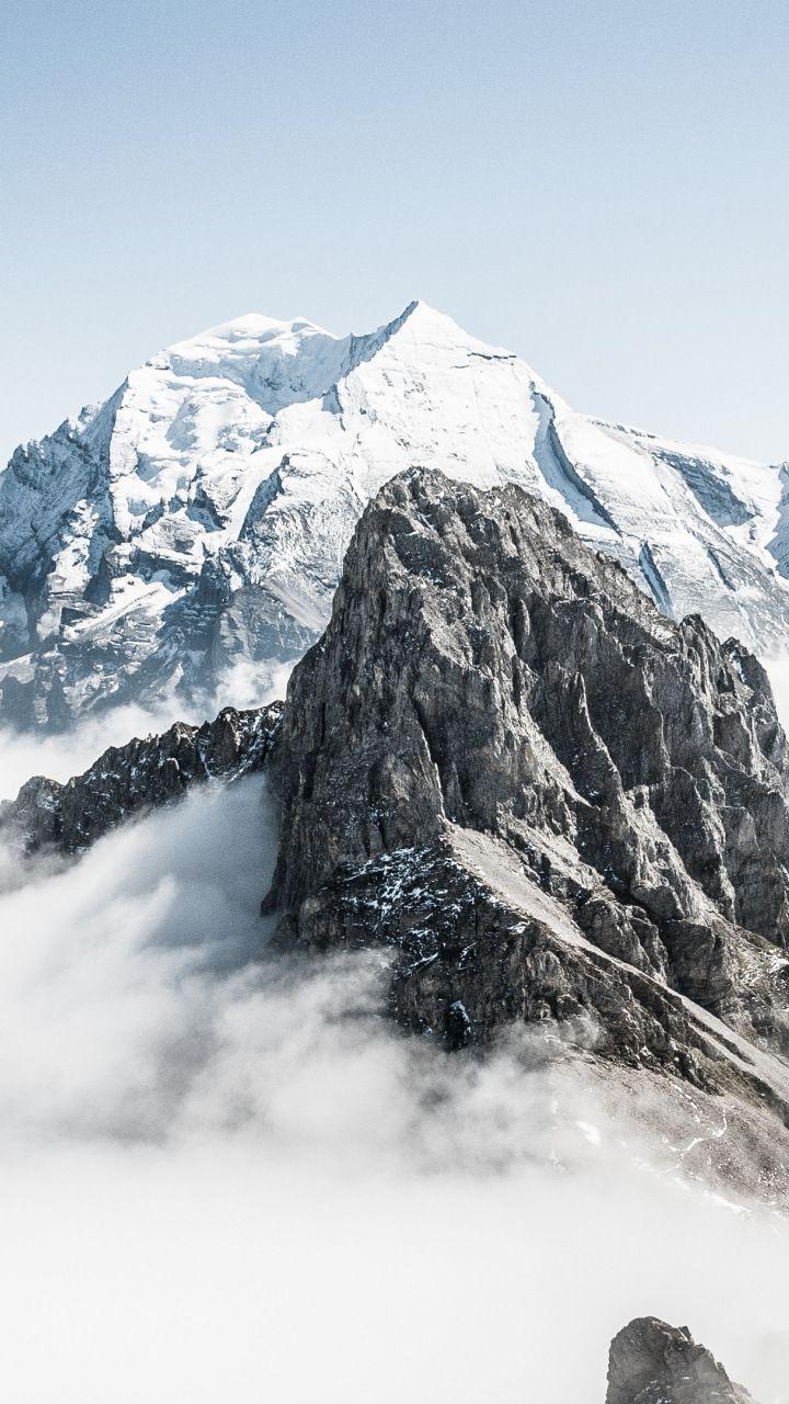 Snow Mountains Peak Clouds Switzerland 720x1280 Wallpaper Snow Mountain Switzerland Mountains Mountain Photography
