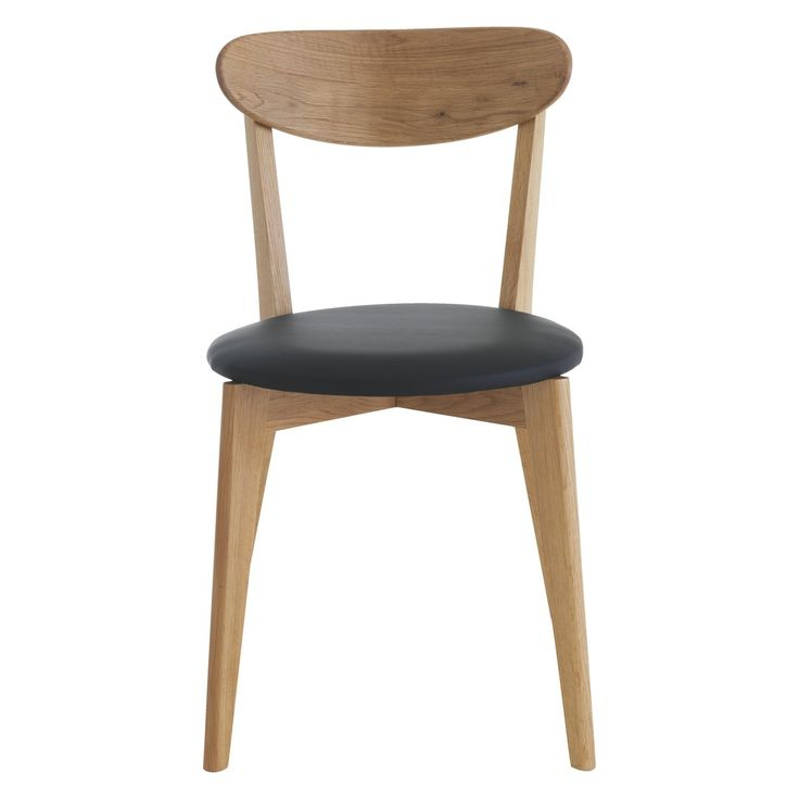 SOPHIE Oak dining chair with black seat pad (£80)