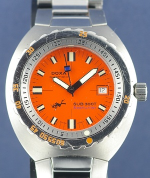 Vintage Watch: Sub 300T Seahunter, diving watch only 1,000 made. And it has an orange face. Like.