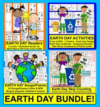 Earth Day Resources Include:  1. Earth Day Poems/Songs   2. Earth Day Posters, Earth Day Graphing, Earth Day Pledge, Earth Day Certificate & Parent Letter  3. Earth Day Readers (2 Reading Levels and Vocab Cards for Pocket Chart or Word Wall)  4. Earth Day Skip Counting Math Centers