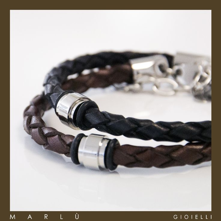 Bracciale in pelle nera e marrone con inserto in acciaio. #ManTrendy.  Black and brown leather bracelet with steel insert. #ManTrendy collection