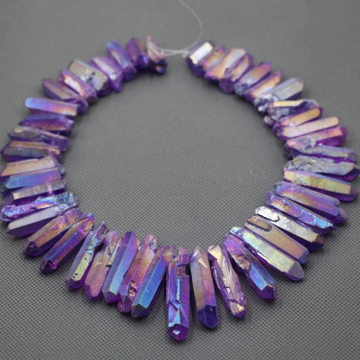 Approx 54pcs/strand Natural Raw Purple AB Quartz Crystal Point Pendant Rough