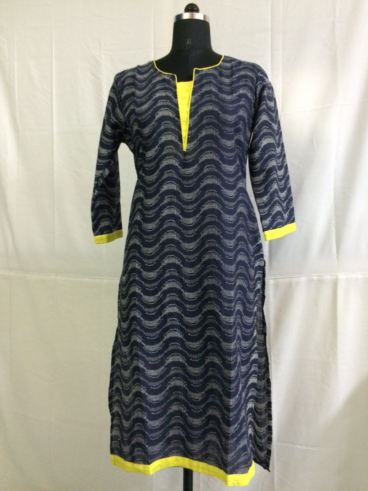 Regular wear black and yellow combination kurti
