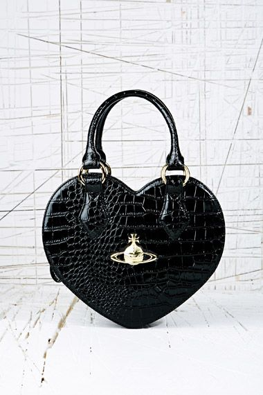 vivienne westwood  / black crocodile heart bag / so in love