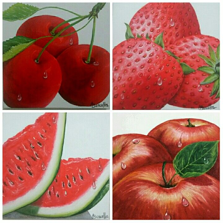 Quarteto de telas pintadas com tinta para tecido. Frutas vermelhas.