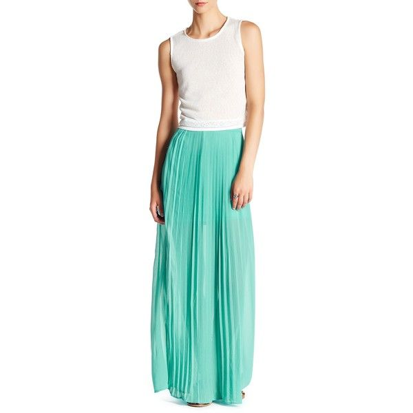 LoveRiche Pleated Maxi Skirt ($30) ❤ liked on Polyvore featuring skirts, mint, mint green skirt, mint green pleated maxi skirt, mint pleated skirt, mint pleated maxi skirt and blue pleated skirt