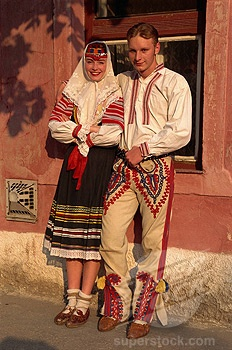 Couple in traditional Slovak costume. Kezmarok, Slovakia