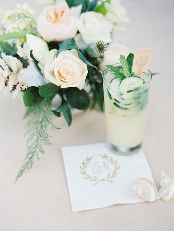 Specialty Cocktails with Monogram Napkins | Erich McVey Photography | Ethereal Neutral Wedding Ideas for Summer #wedding #cocktail #monogram #preppy