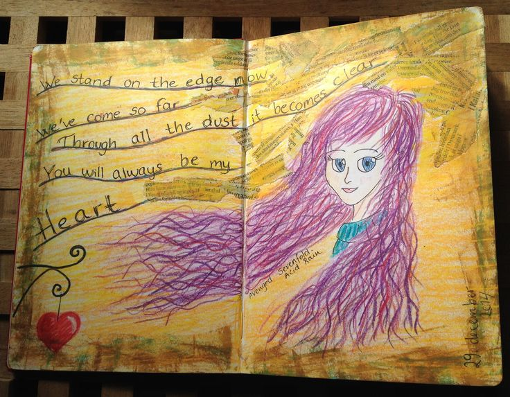 First page of my Art Journal. A manga-girl and a quote from Acid Rain by Avenged Sevenfold