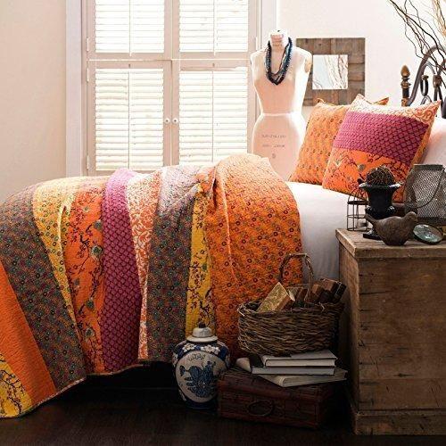 Orange Floral Stripes Pattern Quilt Full Queen Set Lovely Birds Boho Chic Rich Flowers Design Bohemian Themed Bedding Soft Warmth Cotton Unisex