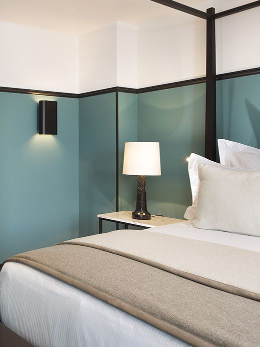Absolutely love this Light teal wall with black stripe | By Gilles & Boissier in parisian hotel near Opéra Garnier.