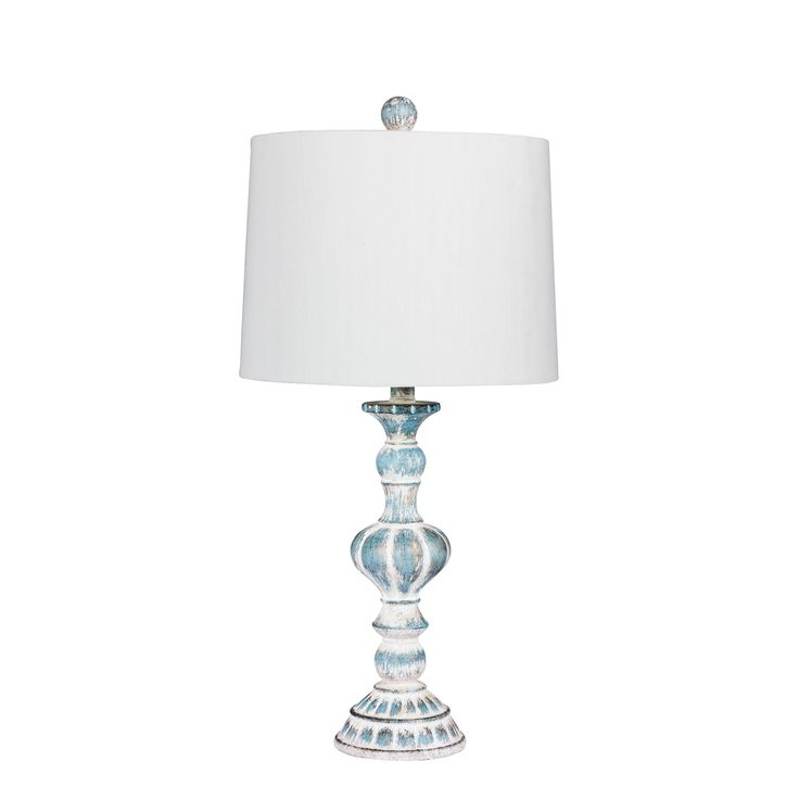 Fangio Lighting's 6238CABL 26.5 in. Distressed, Sculpted Candlestick Resin Table Lamp in a Cottage Antique Blue Finish (60 to 100 Watts)