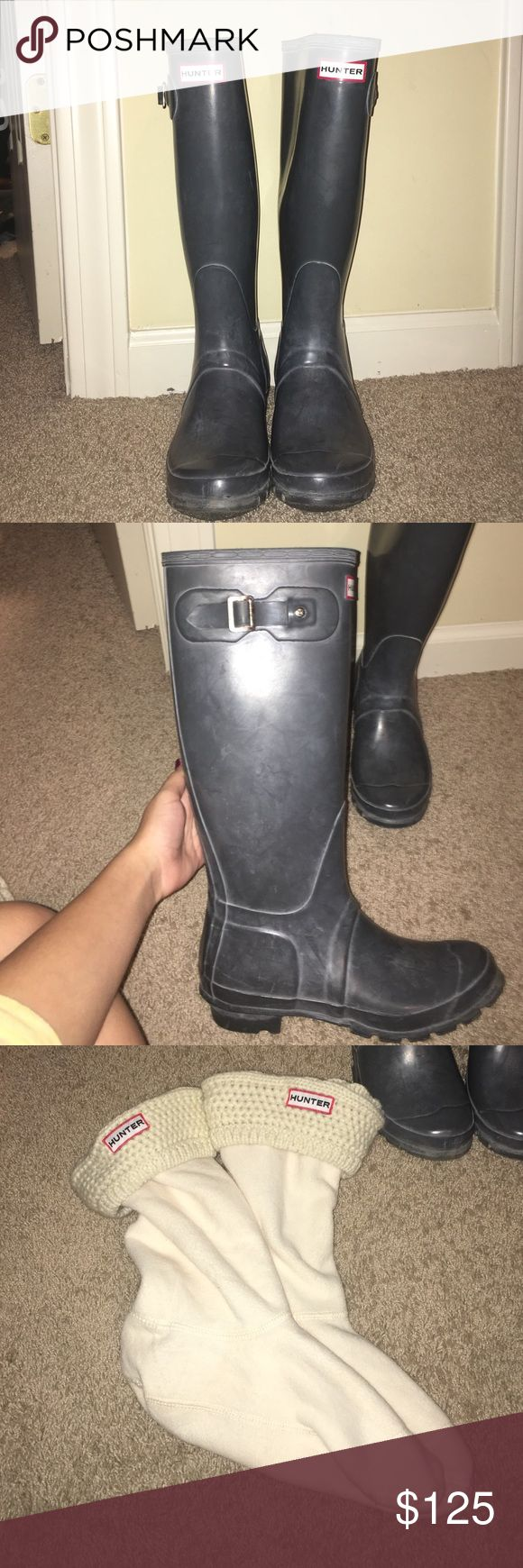 Tall grey Hunter Rain boots REAL hunter tall grey rain boots. Great condition. Only worn ONCE. INCLUDES real hunter boot socks with the boots. Socks are size M/L which is shoe sizes 6-8. Boots are size 7 Hunter Boots Shoes Winter & Rain Boots