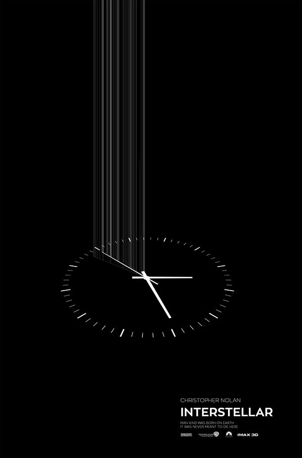 Gravity Watch - minimal design in black & white for the interstellar movie poster | advertising. Werbung. publicité | Design: Mo gohary |