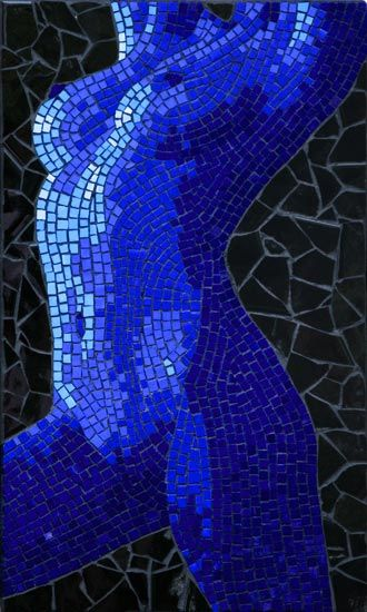 Untitled nude woman mosaic in ceramic tiles by Brett Campbell Mosaic