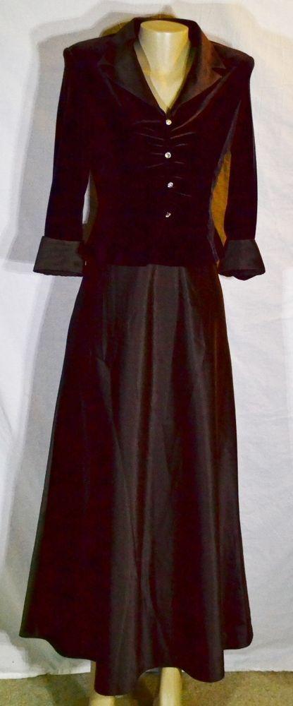 KAREN MILLER Brown Formal Mother of The Bride Dress 8 Velvet Bodice Satin Skirt #Dress