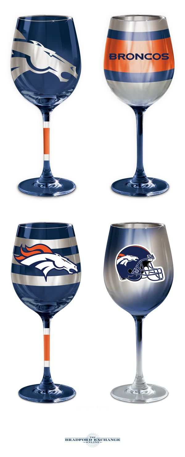 Cheering on your Denver Broncos never looked so stunning! This collection of officially-licensed wine glasses is crafted in the finest European tradition and sports team logos, team colors and metallic finishes. Arrive in sets of 2.