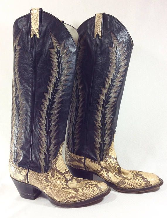 Womens Vintage Tall Black Leather and Snakeskin Cowboy Boots size 6, $145.00 by MysticPincushion on Etsy.