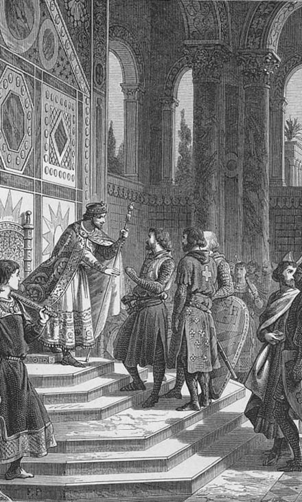 Première croisade Godefroy de Bouillon et les barons reçus par l'empereur Alexis