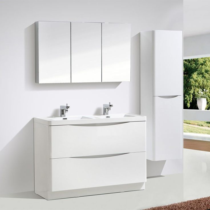 Motiv 1200mm Gloss White Floor Standing Double Basin