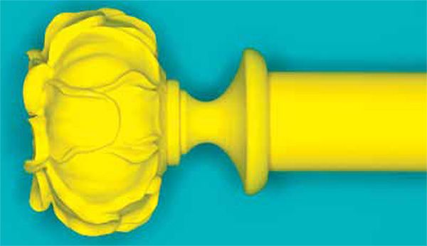 Byron & Byron 35mm, 45mm, 55mm Yellow Floral Neon Curtain Pole with Peony Finial