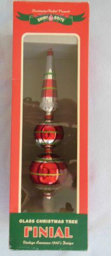 Christopher Radko Shiny Brite Glass Christmas Tree Topper ...
