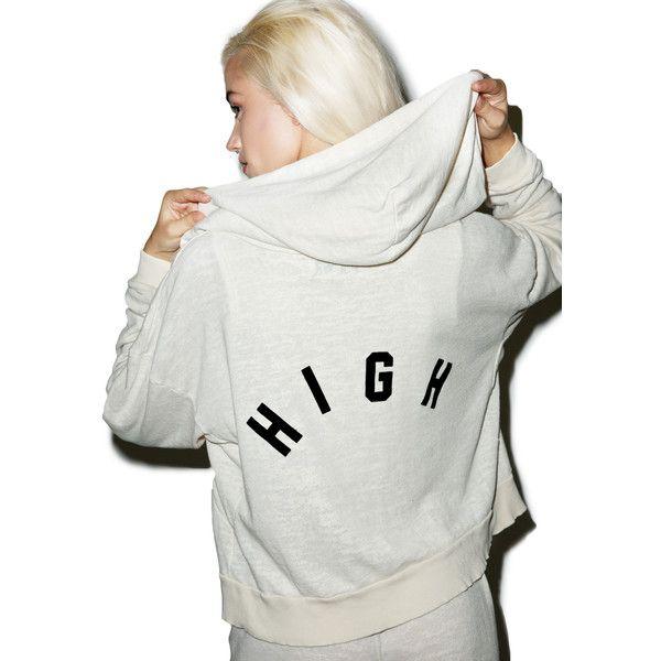 Wildfox Couture High Milk Run Hoodie (£100) ❤ liked on Polyvore featuring tops, hoodies, zip up hoodies, white zip up hoodies, wildfox hoodie, white tops and hooded sweatshirt