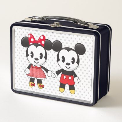 Mickey & Minnie Holding Hands Emoji Metal Lunch Box - initial gift idea style unique special diy