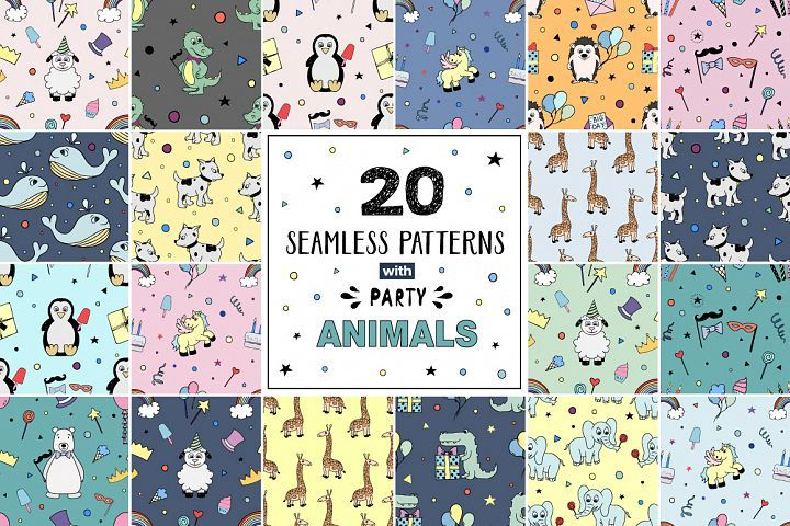20 seamless patterns PARTY Animals - Free Design of The Week Design
