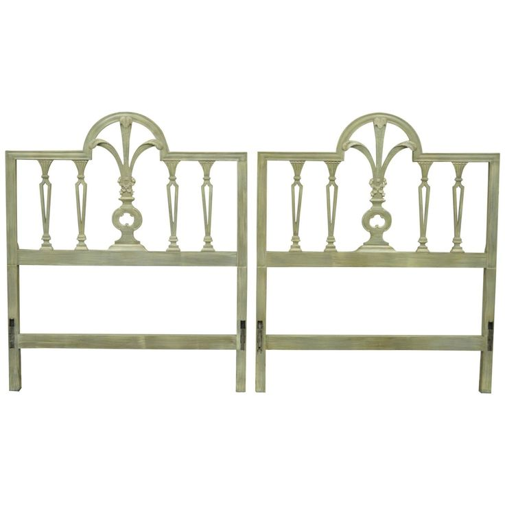Pair of Prince of Wales Plume Feather Carved Wood Single Twin Bed Headboards