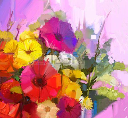 Stilleven van gele en rode kleuren bloemen Olieverf schilderen van een boeket van roos margriet en g Stockfoto