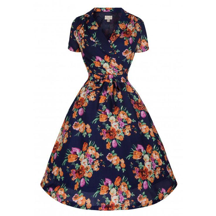 Beatrice Navy Floral Tea Dress   Vintage Inspired Fashion - Lindy Bop