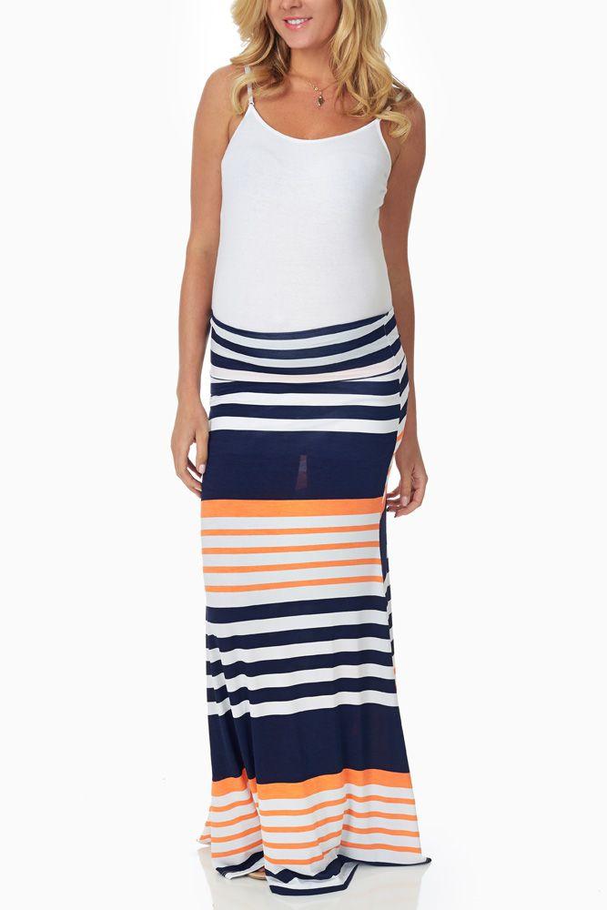 Navy-Blue-Orange-Striped-Maternity-Maxi-Skirt #maternity #fashion