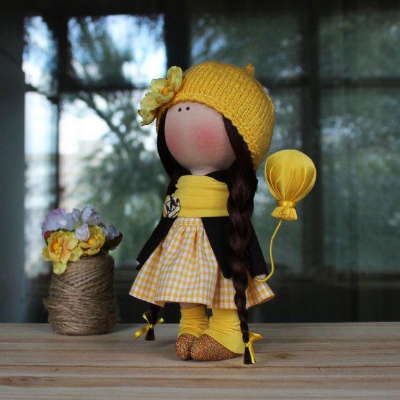Melanie Doll Handmade Doll-Textile Doll-Fabric by CozyDollsShop