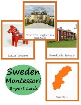 Montessori European Country Sweden 3-part Cards Printables educational