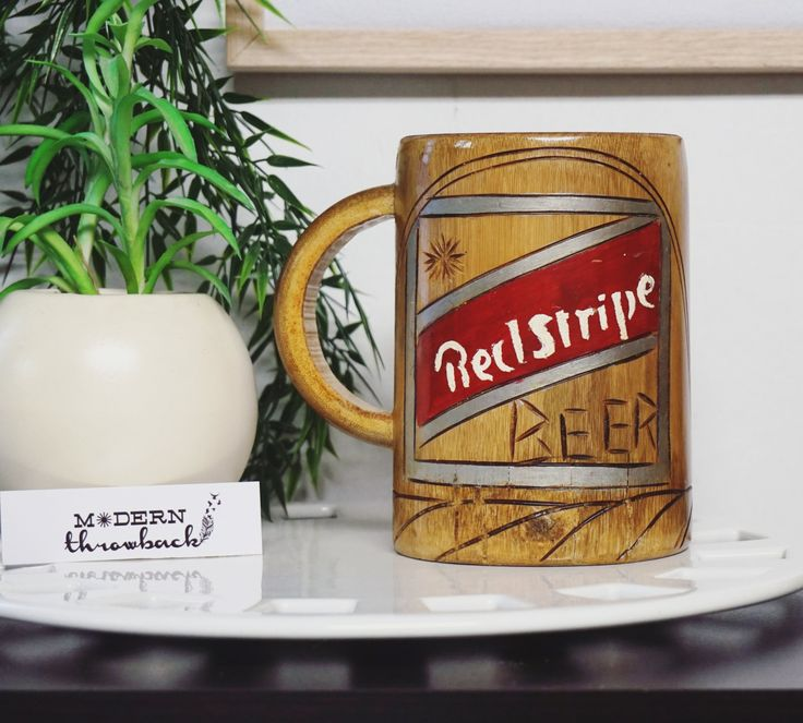 Vintage Red Stripe Beer Mug - Large 28 Ounces - Hand Painted Wood Stein - Jamaica No Problem by MODernThrowback on Etsy