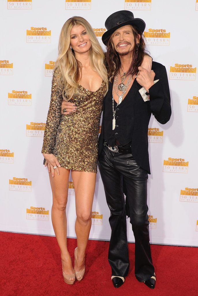 Marisa Miller posed with Steven Tyler at the Sports Illustrated 50th Anniversary Party