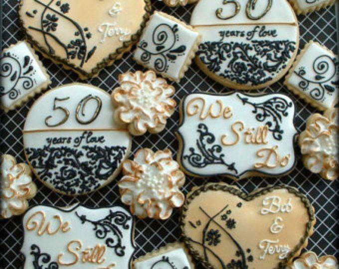 Galletas aniversario - 1 docena 50 galletas de aniversario boda - decoración galletas favores - aniversario de oro